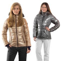 Hochwertiges Damen Skiset Skijacke gold stretchige Softshellhose in schwarz