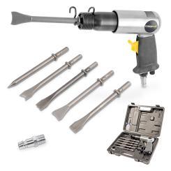 Powerplus Drucklufthammer 6,3 bar pneumatischer Hammer + 5 Meißel im Koffer Druckluftwerkzeug