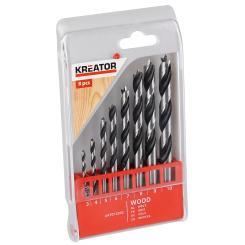 Kreator Bohrerset 8-teilig Holz Bohrer - verschiedene Größen 3-10 mm Stahl
