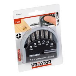 Kreator Bitset 7-teilig 25 mm Bits PH Bitbox Mini-Schraubendreher-Set S2-Stahl