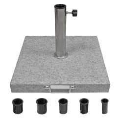 Sonnenschirmständer aus Granit, leicht rollbar, inkl. 5 Adapter-Ringen 40kg Grau