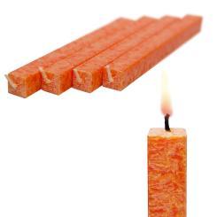 Wachskerze Orange 4-er Set amabiente - Stabkerze Stearin Kommunionkerze 19 cm
