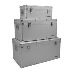 anndora Alu Rahmenkoffer 3er Set Silber 155 Liter Transportbox Werkzeugkoffer