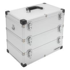 anndora Werkzeugkoffer 41 Liter Angelkoffer Etagenkoffer 3 Ebenen Silber Alu