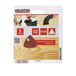 KREATOR 5 Schleifscheiben Dreieckschleifer 90 x 90 x 90 mm Körnung G120 für Holz