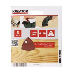 Kreator 5 Schleifblätter 90 x 90 x 90 mm Körnung G180 Dreieckschleifer für Holz