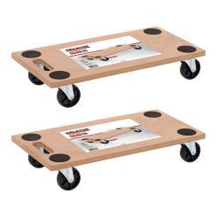 Kreator 2x Möbelroller Transportroller Rollbrett Rangierhilfe + 360° Lenkrollen