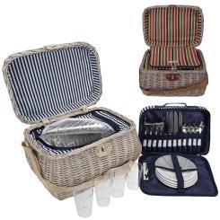 Picknickkorb beige mit Isolierfach inkl. Zubehör 21 Teile - Farbwahl