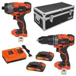 Dual Power Geschenkset Schlagbohrschrauber + Bohrschrauber + 2 Akkus + Ladegerät + Koffer