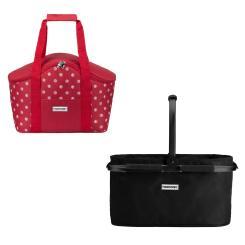 Einkaufskorb schwarz + Kühltasche rot weiß gepunktet