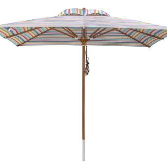 anndora Sonnenschirm Gartenschirm 3 x 3 m eckig + Winddach gestreift 7 Farben 3 x 3m eckig