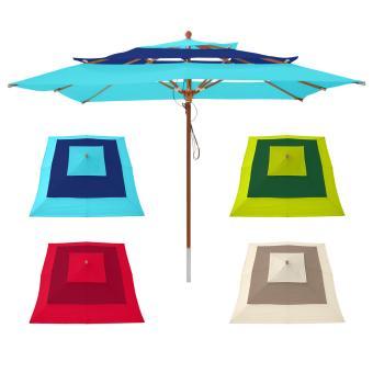 anndora Sonnenschirm mit 3 Stofflagen 3 x 3 m quadratisch