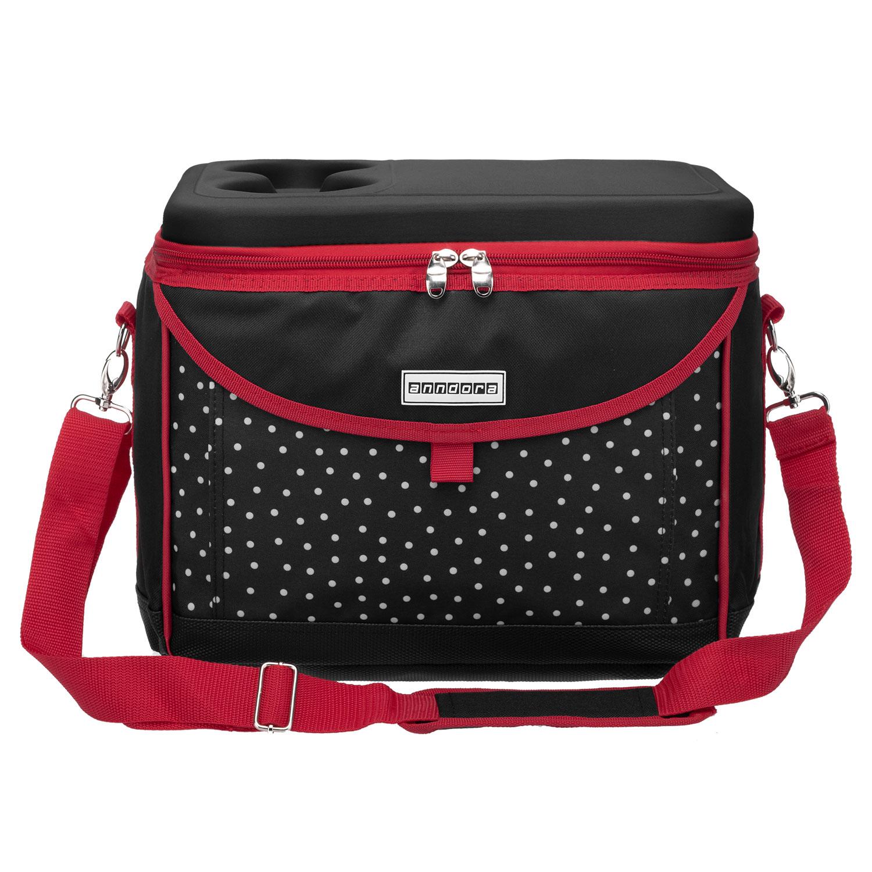 4a3761dec433f anndora Kühltasche Picknicktasche 22 L Coolbag schwarz weiß gepunktet