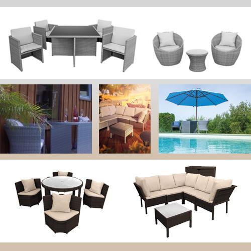 Polyrattan, Gartenmöbel, Sitzgruppen, Sonnenschirm