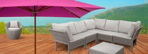Polyrattan, Gartenmöbel, Sonnenschirm
